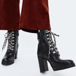 Zara Leather Hiking Style Heeled Ankle Chunky Boot